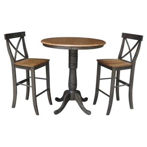 "36"" Lourda Round Pedestal Bar Height Table with 2 X Back Bar Stools Hickory Brown - International Concepts - image 1 of 4"