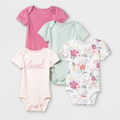 Baby Girls' 4pk Meadow Short Sleeve Bodysuit - Cloud Island™ Pink/White/Green