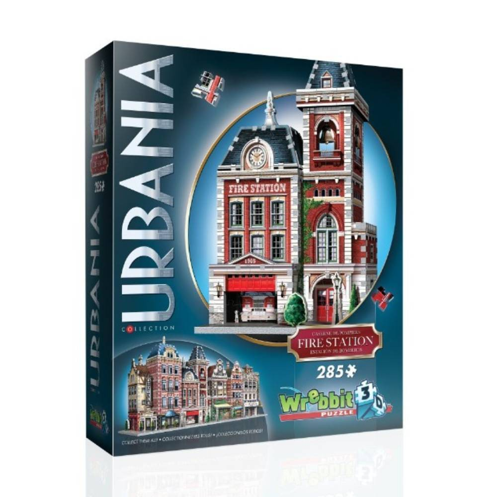 Wrebbit Urbania Fire Station 3D Puzzle 285pc Build, Create and Collect with Urbania 3D puzzles! Design the main street of your own town with this collection of urban shops and emblematic buildings. This typical fire station fits perfectly with the assortment of buildings from all over the world in the Urbania Collection. From its vibrant colors to its authenticity, it has everything that makes a 3D puzzle fun to build. Collectors will find this 285-piece Fire Station is the perfect addition to their existing collection! Fire Station assembled dimensions: 7.5 L x 5.25  W x 12.5  H. Wrebbit3D puzzles have snug and tight fitting pieces that are easy to handle. They are the sturdiest 3D puzzles on the market with the highest quality of design and illustration. Made in Canada. Gender: Unisex.