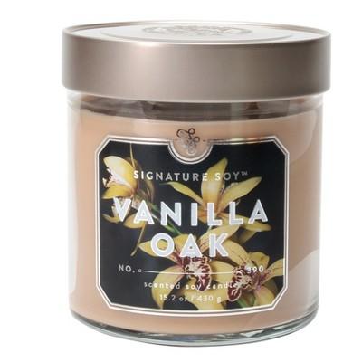 15.2oz Glass Jar Candle Vanilla Oak - Signature Soy