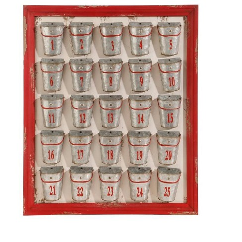 """Raz Imports 24"""" Red Rustic Weathered Bucket Christmas Advent Calendar - image 1 of 2"""
