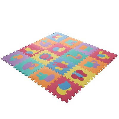 Hey! Play! Foam Floor Animal Puzzle Learning Mat - 16pc