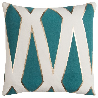 "20""x20"" Geometric Throw Pillow Teal - Rachel Kate"