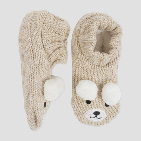 Womens Knit Slipper Socks Bear White One Size Target