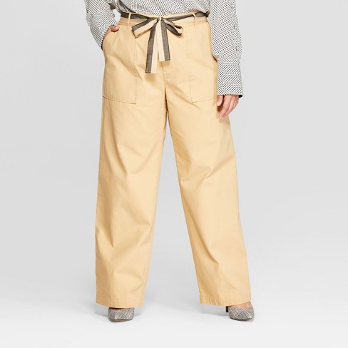 ca2aebcaa244f Women s Plus Size Duo Front Pocket Straight Wide Leg Cargo Pants - Who What  Wear™ Khaki