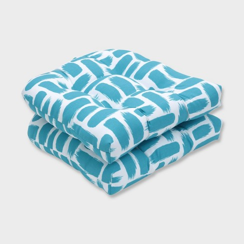 2pk Baja Turquoise Wicker Outdoor Seat Cushions Blue - Pillow Perfect - image 1 of 1