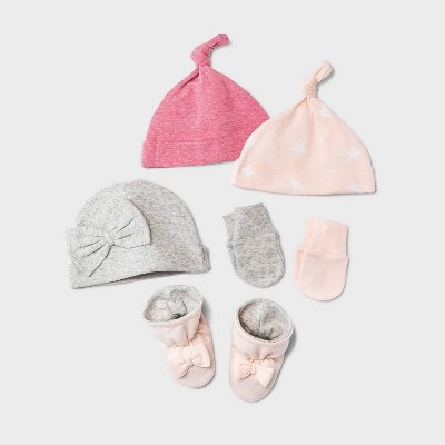 Baby Girls' 6pc Hat and Mittens Set with Bootie - Cloud Island™ Pink/Gray