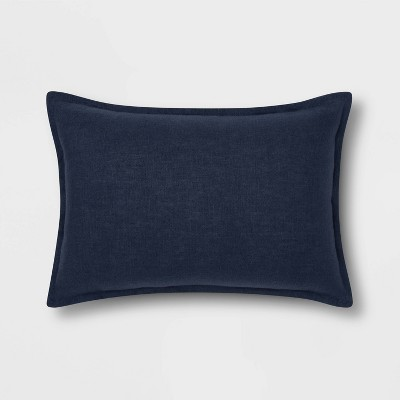 Lumbar Reversible Linen Pillow with Self Flange Navy - Threshold™