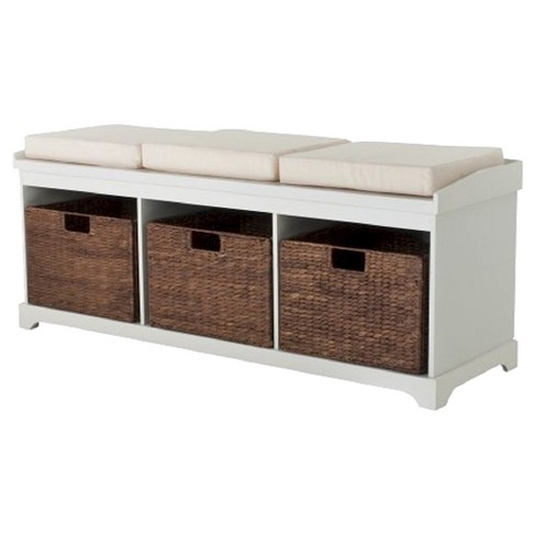 Entryway Bench With 3 Baskets And Cushions White