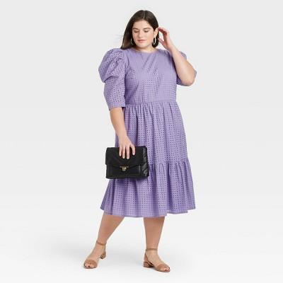 Women's Elbow Sleeve Eyelet Dress - A New Day™