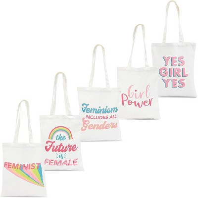 Sparkle and Bash 5-Pack Feminist 100% Cotton Canvas Tote Bags Reusable Grocery Bags, 5 Designs, White, 14.2x12.1 in