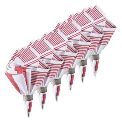 C&F Home Red & White Cotton Reversible Napkin Set of 6