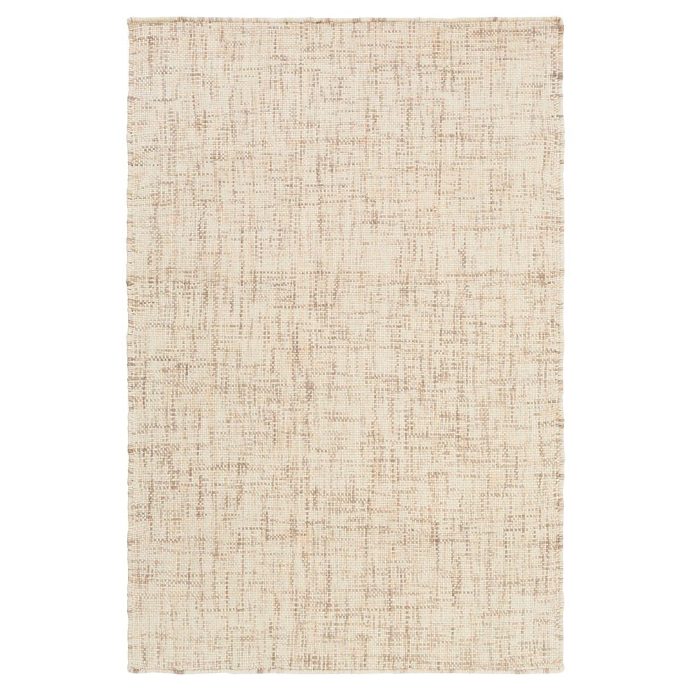 Beige Solid Woven Accent Rug (3'3