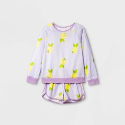 Girls' 2pc Lemon Print Pajama Set - Cat & Jack™ Purple