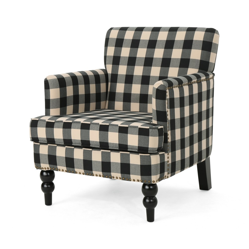 Harrison Tufted Club Chair Black Checkerboard - Christopher Knight Home
