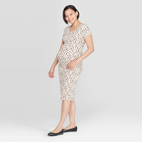 Maternity Leopard Print Short Sleeve Round Neck T-Shirt Dress - Isabel Maternity by Ingrid & Isabel™ Tan - image 1 of 2