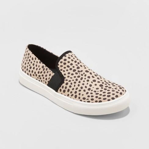 Women's Rose Microsuede Slip On Twin Gore Leopard Print Sneakers - Universal Thread™ Brown - image 1 of 3