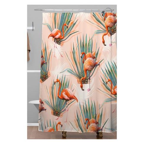 Marta Barragan Camarasa Flamingos With Cactus Shower Curtain Pink