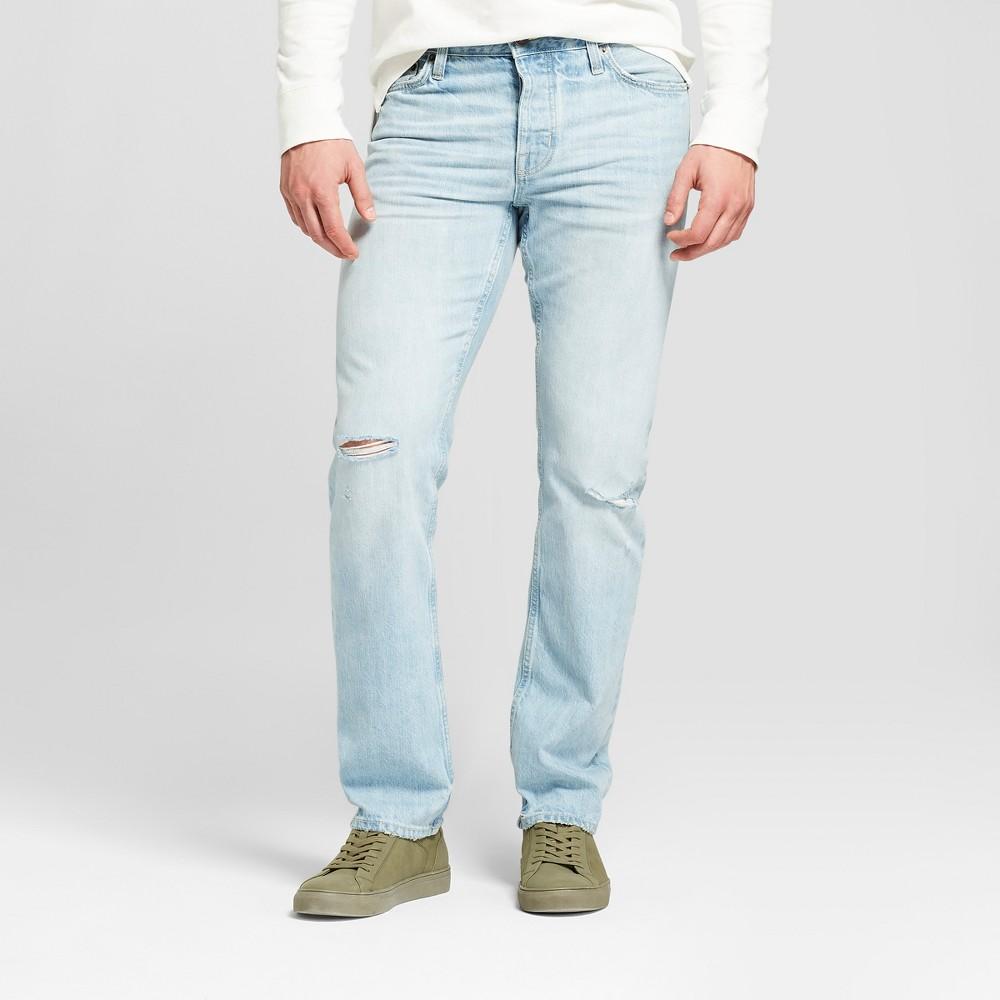 Men's Slim Straight Fit Selvedge Denim - Goodfellow & Co Light Wash 34x32, Blue