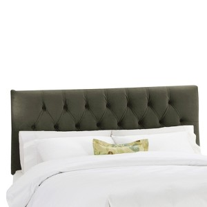 Queen Jasmine Tufted Upholstered Headboard Velvet Pewter - Cloth & Co.