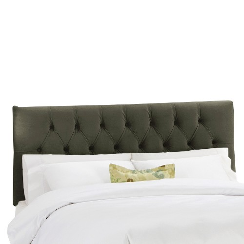 King Jasmine Tufted Upholstered Headboard Velvet Pewter - Cloth & Co.