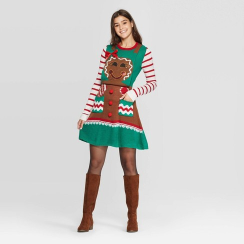 Women's Long Sleeve Gingerbread Ugly Holiday A-Line Mini Dress - Born Famous (Juniors') - Brown - image 1 of 2