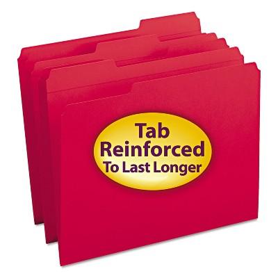 Smead File Folders 1/3 Cut Reinforced Top Tab Letter Red 100/Box 12734