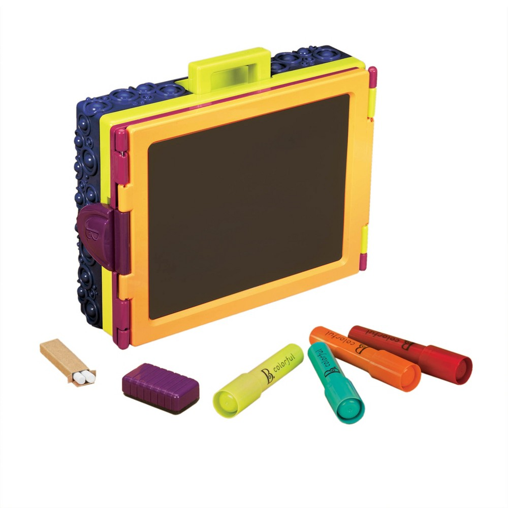 B. toys Take It Easel, Craft Activity Kits This erasable whiteboard/chalkboard is perfect even when you're on the go, as it folds open to become a tabletop easel. Inside of easel could be also used to hold, markers, chalk and other art supplies. Gender: Unisex.