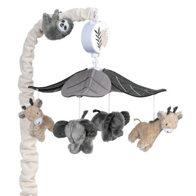 Lambs & Ivy Baby Jungle Animals Gray/Tan Musical Crib Mobile Soother Toy