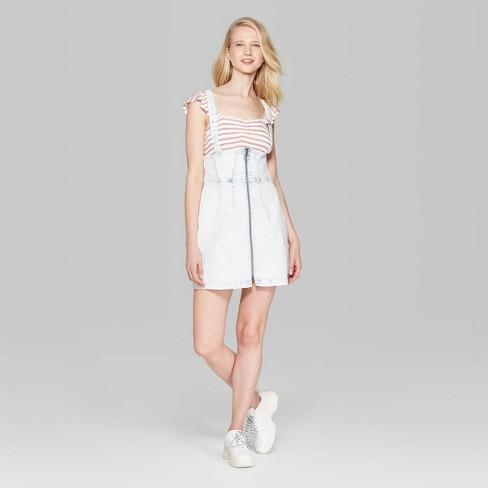 50b40ea2b49 Women s Strappy Pinafore Mini Dress - Wild Fable™ Light Denim   Target