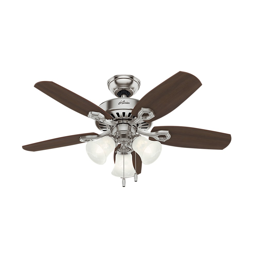 Image of 42 Builder Small Room Lighted Ceiling Fan Brushed Nickel - Hunter Fan