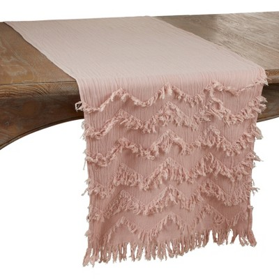 "72"" x 16"" Cotton Fringed Chevron Table Runner Pink - Saro Lifestyle"