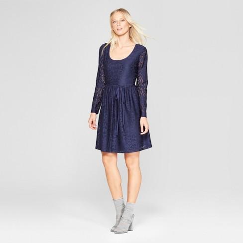 e40bfc5cf3b Women s Long Sleeve Scoop Neck Tie Back Lace Dress - Xhilaration ...