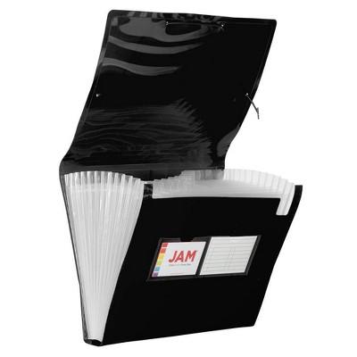 "JAM Paper 9"" x 13"" Plastic Expanding File Folder 13 Pocket - Letter Size - Black"