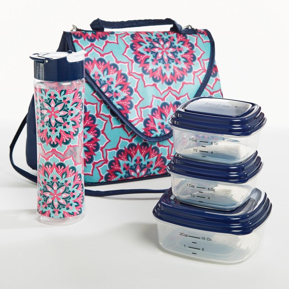 Image of Fit & Fresh Winona Lunch Kit - Pink & Aqua Bloom Tile, Blue