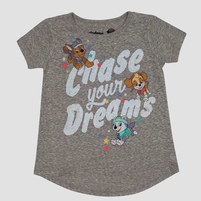 Toddler Girls' PAW Patrol Short Sleeve T-Shirt - Gray - image 1 of 2