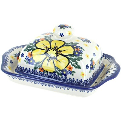 Blue Rose Polish Pottery Buttercup Butter Dish