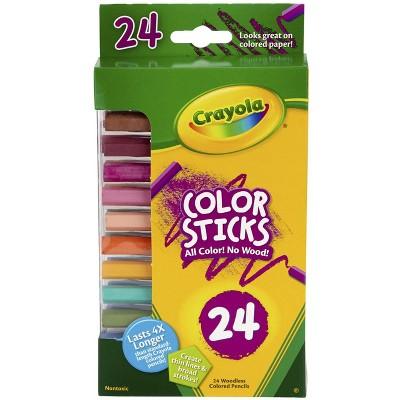Crayola Color Sticks Woodless Pentagon Colored Pencils, Assorted Colors, set of 24
