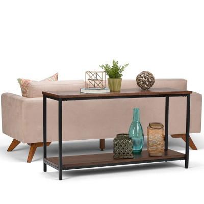 Rhonda Solid Mango Wood Console Sofa Table Dark Cognac Brown   Wyndenhall