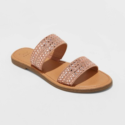 Women's Kersha Embellished Slide Sandals - A New Day™ Rose Gold 11