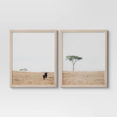 "(Set of 2) 16""x 20"" African Landscape Framed Wall Art - Threshold™"