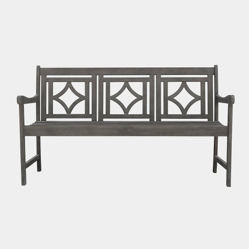 Magnificent Renaissance Hardwood Diamond Outdoor Patio Bench Gray Vifah Ocoug Best Dining Table And Chair Ideas Images Ocougorg