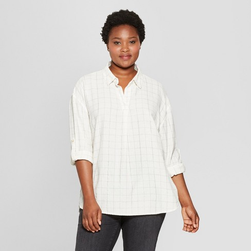 793cdcb5 Women's Plus Size Plaid Long Sleeve Popover Flannel Button-Down Shirt - Universal  Thread™ White : Target