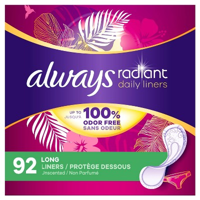 Always Radiant Daily Panty Liners - Long - Unscented - 92ct