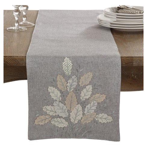 "Grey Holly Leaves Design Table Runner (13""x72"") - Saro Lifestyle® - image 1 of 2"
