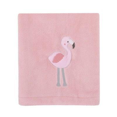 NoJo Tropical Flamingo Pink Plush Coral Fleece Baby Blanket with Applique