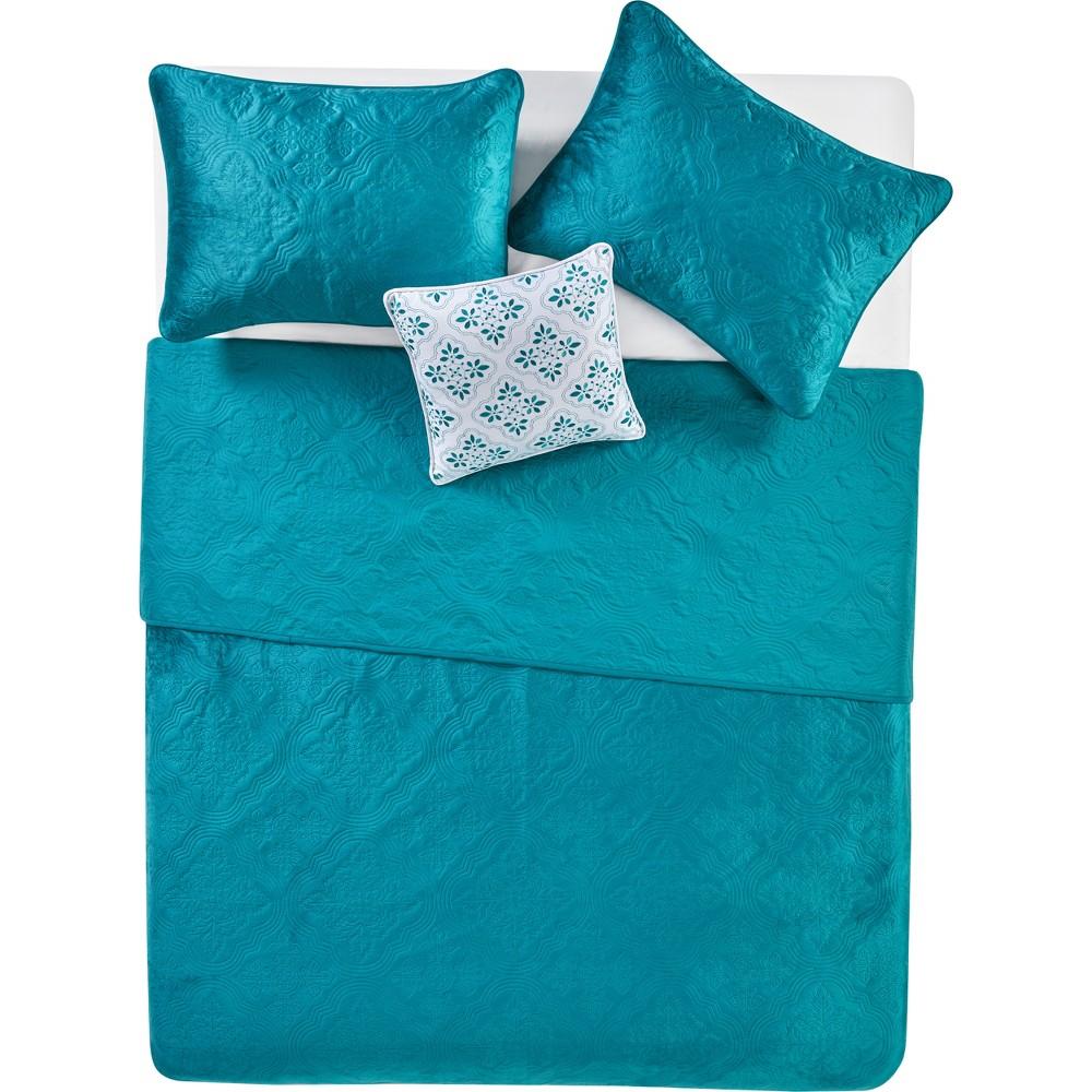 3pc Full/Queen Solid Starburst Velvet Quilt Set Teal- Vcny Home, Blue