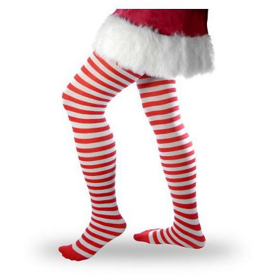Forum Novelties Women's Striped Tights - Red and White