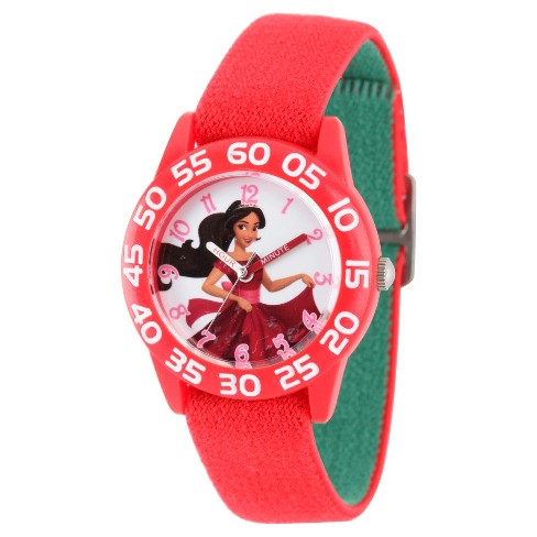 Girls' Disney Elena of Avalor Red Plastic Time Teacher Watch - Red - image 1 of 2