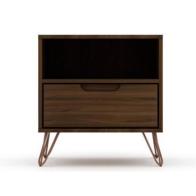 1.0 Rockefeller Nightstand Brown - Manhattan Comfort